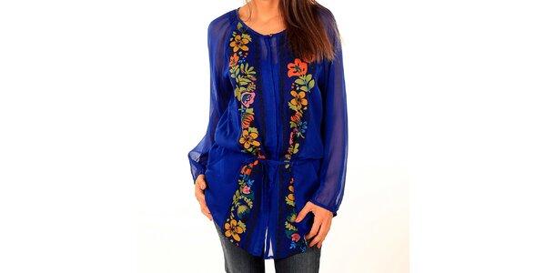 Dámska kráľovsky modrá blúzka s kvetinami Tonala