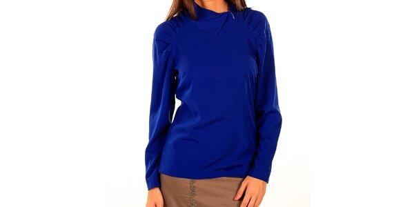 Dámske kráľovsky modré tričko so skladmi Tonala
