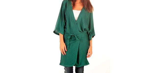 Dámsky dlhý zelený sveter s opaskom Tonala