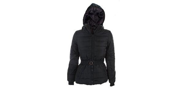 Dámska čierna bunda Sisley s opaskom a tyrkysovou podšívkou