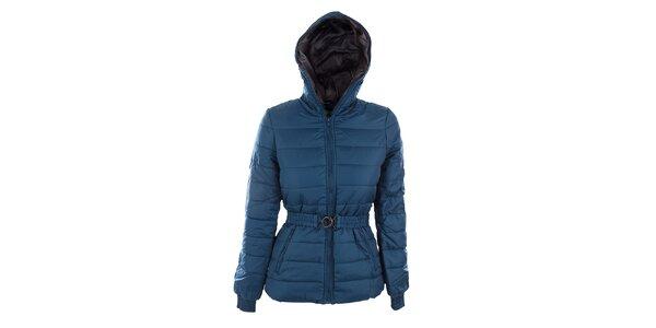 Dámska modrá bunda Sisley s opaskom a šedou podšívkou