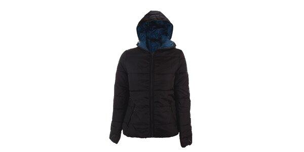 Dámska tmavo šedá bunda Sisley s modrou podšívkou