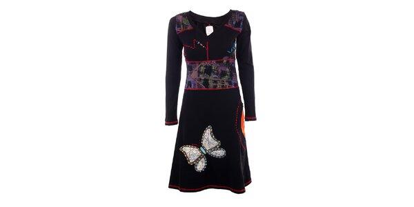 Dámske čierne šaty s motýľom DY Dislay Design