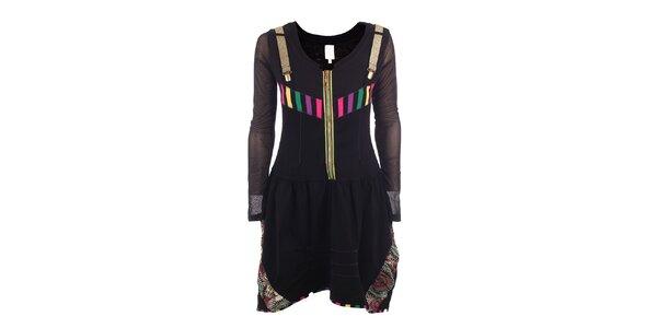 Dámske čierne šaty so zlatými trakmi a zipsom DY Dislay Design