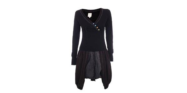 Dámske čierne šaty s gombíkmi DY Dislay Design