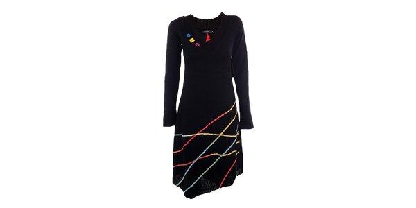 Dámske čierne šaty s farebnými prúžkami DY Dislay Design