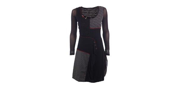 Dámske čierne šaty s transparentnými rukávmi DY Dislay Design