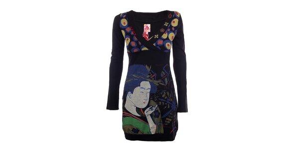 Dámske čierne šaty s japonským motívom DY Dislay Design
