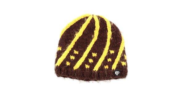 Dámska žlto-hnedá pletená čiapka Fundango