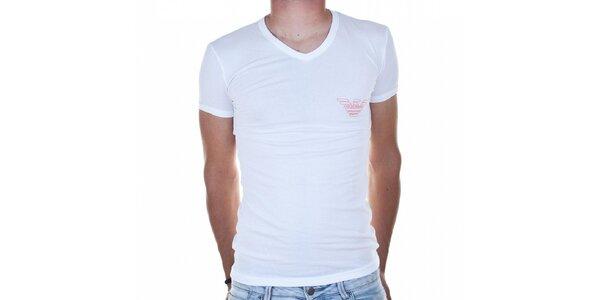 Pánske biele tričko Emporio Armani s potlačou