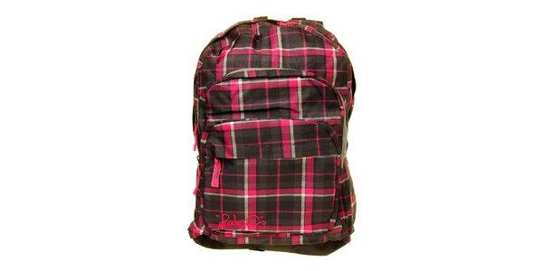 Dámsky šedo-ružový kockovaný batoh s logom Fundango