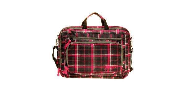 Dámska šedo-ružová kockovaná taška na notebook Fundango