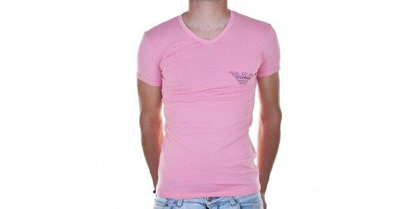 Pánske svetlo ružové tričko Emporio Armani s potlačou