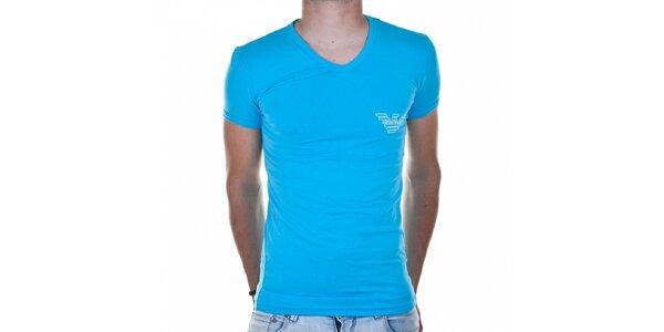 Pánske azúrovo modré tričko Emporio Armani s potlačou