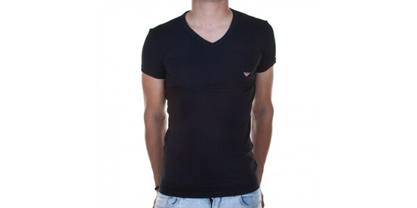 Pánske čierne tričko Emporio Armani s potlačou