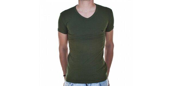 Pánske tmavo zelené tričko Emporio Armani s potlačou