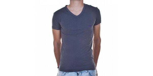 Pánske tmavo šedé tričko Emporio Armani s potlačou