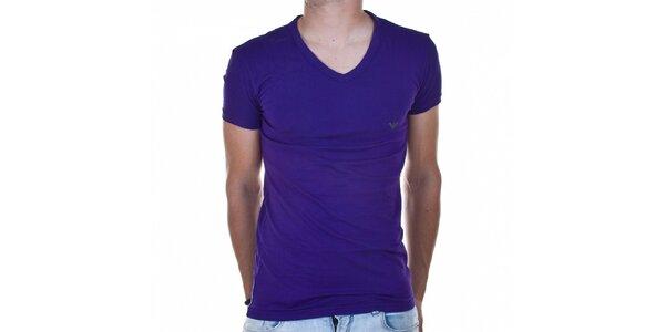 Pánske fialové tričko Emporio Armani s potlačou