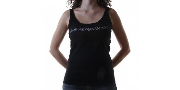 Dámsky čierny bavlnený top Emporio Armani