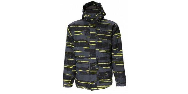 Pánska tmavo šedá zimná bunda Fundango s membránou a čierno-žltou potlačou