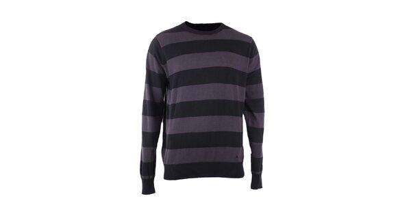 Pánsky šedo-černy prúžkovaný sveter Fundango