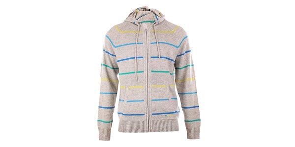 Pánsky šedý pruhovaný sveter s kapucňou