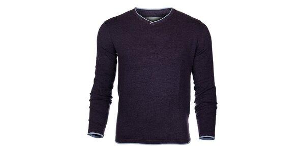 Pánsky tmavo fialový sveter Timeout so svetlo modrým lemom