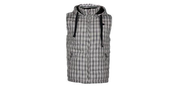 Pánska svetlo šedá kockovaná vesta Timeout