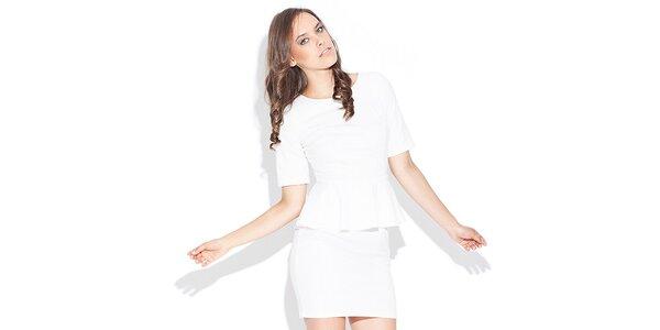 Dámske biele peplum šaty Katrus