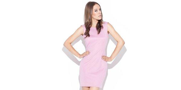 Dámske ružové šaty s odhaleným chrbátom Katrus