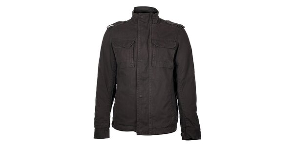 Pánsky zimný tmavo šedý kabát Timeout