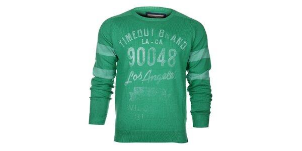 Pánsky zelený sveter Timeout s potlačou