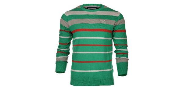 Pánsky zeleno-béžový prúžkovaný sveter Timeout