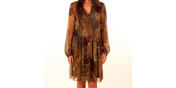 Dámske okrovo-hnedé vzorované šaty Privee