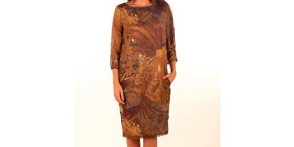 Dámske hnedé šaty s potlačou a korálkami Privee
