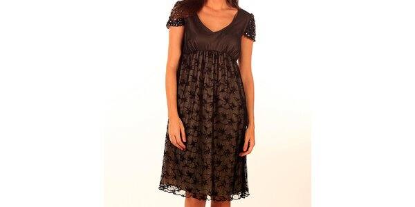 Dámske tmavo hnedé šaty s kamienkovými rukávmi Privee