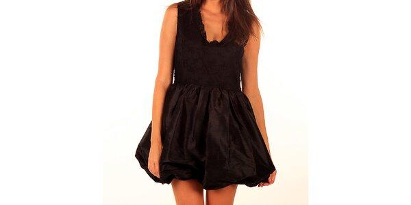 Dámske čierne šaty Privee s balónovou sukňou