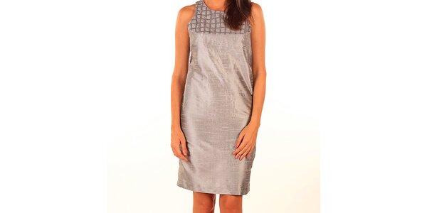Dámske šedé lesklé púzdrové šaty Privee