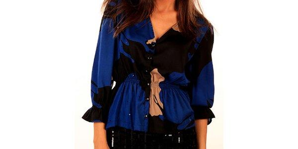 Dámska modro-čierna blúzka s elastickým pásom Privee