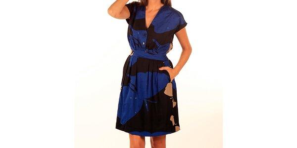 Dámske modro-čierne šaty s potlačou Privee