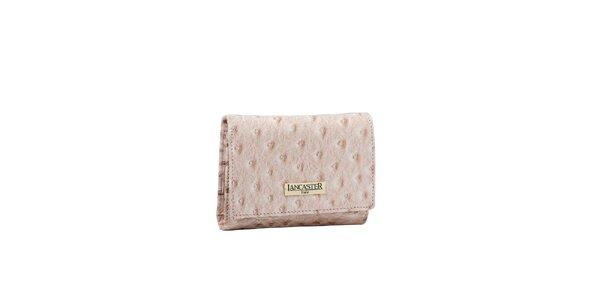 Dámska béžová peňaženka Lancaster s imitáciou pštrosej kože