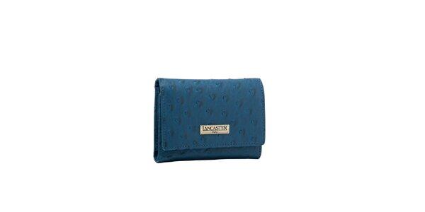 Dámska modrá peňaženka Lancaster s imitáciou pštrosej kože