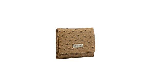 Dámska tmavo béžová peňaženka Lancaster s imitáciou pštrosej kože