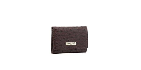 Dámska šedohnedá peňaženka Lancaster s imitáciou pštrosej kože
