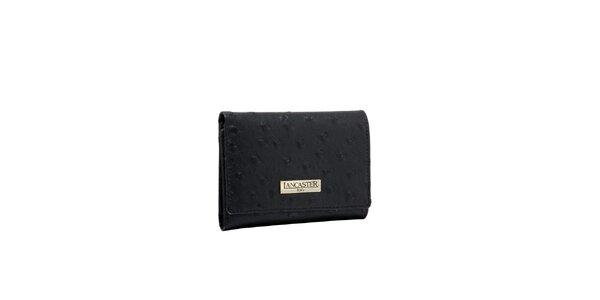 Dámska čierna peňaženka Lancaster s imitáciou pštrosej kože