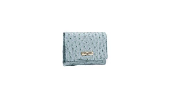 Dámska bledomodrá peňaženka Lancaster s imitáciou pštrosej kože