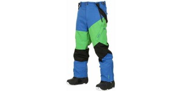 Pánske sýto modré snowboardové nohavice Envy s farebnými pruhmi