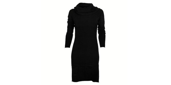 Dámske čierne pletené šaty Timeout s velkým límcom
