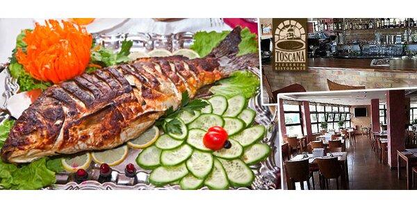 Rybie špeciality na grile s prílohou a dezertom