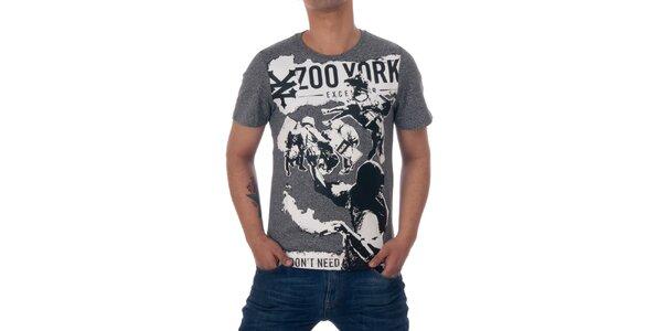 Pánske šedé tričko Zoo York s čierno-bielou kolážou